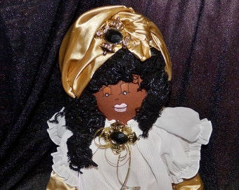 SALE--SALE Original Sha Bebe Cloth Doll Made by Cajun Doll Artist, Mary Lynn Plaisance in  Louisiana. Art doll collectibles ~!!!!