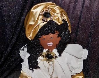 VENTE - vente originale Sha Bebe poupée en tissu faite par Cajun poupée d'artiste, Mary Lynn Plaisance en Louisiane. Objets de collection art doll ~!!!