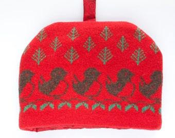 Christmas Robins Knitted Tea Cosy