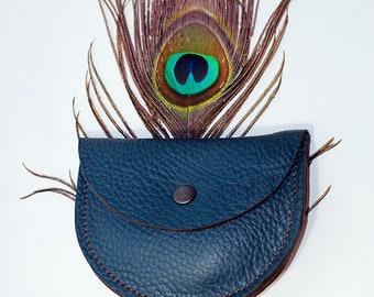 wallet blue leather half moon