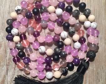 Amethyst & Rose Quartz Mala Necklace | Labradorite Mala Beads | Pink Mala Necklace | 108 Mala Beads | Gemstone Mala | Boho Necklace | Mala