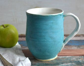 Turquoise Ceramic Mug with White interior Handmade Stoneware Pottery Coffee Cup Ready to Ship Made in USA