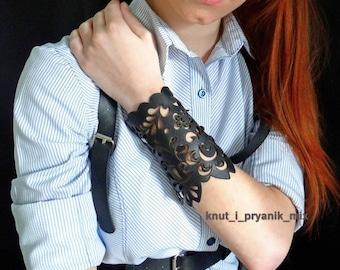 Black Laser Cut Leather Lace Leather bracelet Bracelet made from lace  Bracelet handmade gift Women's bracelet Beautiful bracelet leather
