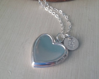 Silver heart locket with custom initial charm