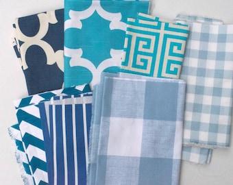 Blue Fabric Scraps Bundle, Fynn, Buffalo Check, Towers, Plaid, Chevron, Stripes, Buffalo Check, Premier Prints Home Decor Remnants Pile