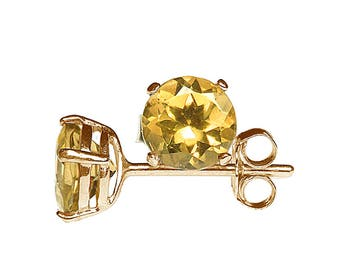 5mm Round Faceted Genuine Golden Yellow Citrine Gemstone 9k / 9ct Yellow Gold Ear Stud Earrings