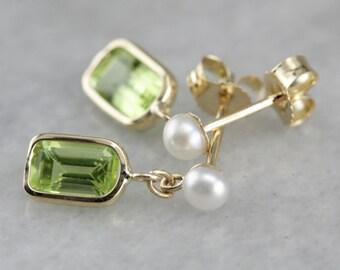 Pearl and Peridot Drop Earrings, Green Stone Earrings, Simple Drop Earrings, August Birthstone 3VKL8ALN