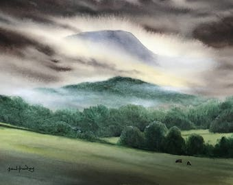 Landscape watercolour, Original paintings, Mountain landscapes, Lakeland paintings, Watercolour paintings, Misty mountains, wet in wet,