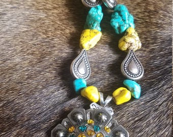 Yellow And Turquoise Howlite