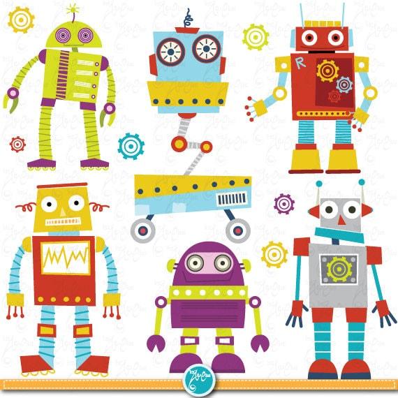 Robots Clipart Pack Cute Robots Digital Clip Art