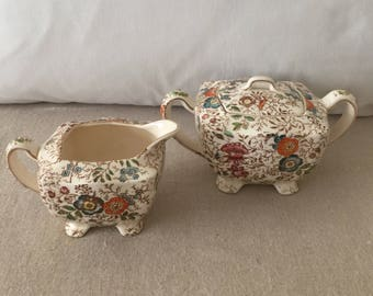 Vintage Chintz Cream and Sugar~Made in Japan~Autumn Colors