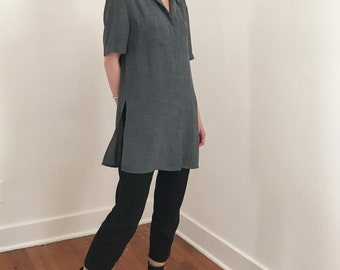 boxy vintage collared shirt with side slits