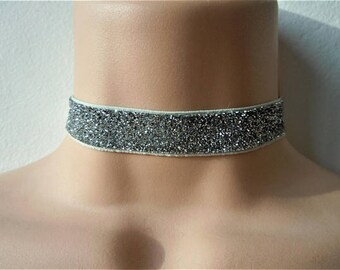 Silver Sparkly Glitter Choker Necklace Stretch Evening Bling Glitzy Graduation Party Girls Womens Gifts For Friends Sister 90's Fashion