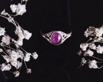 Purple Tourmaline Sterling Silver Ring Size 7-8