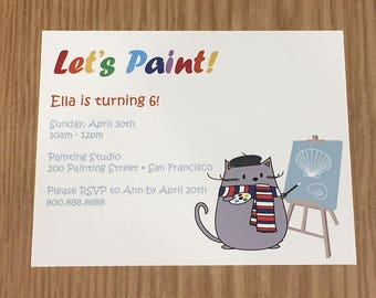 "Peanut Cat Collection - Britou Grey Cat ""Let's Paint"" A2 Flat Note Birthday Party Invitations (Choose your envelope color) (Set of 10)"