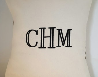 Custom Monogram Pillow Cover- Williamsburg font, 16 x 16 Pillow Cover- Personalized Home Decor