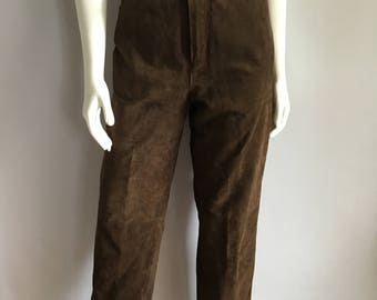 Vintage Women's 80's Brown Suede, Pants, High Waisted, Tapered Leg by Savannah (L)