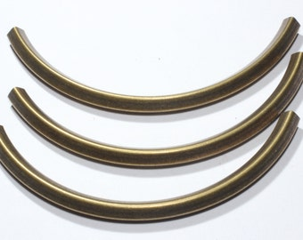 6 Pcs (5x5-95mm) Antiq Brass Curved Tubes- Square Tubes - Necklace