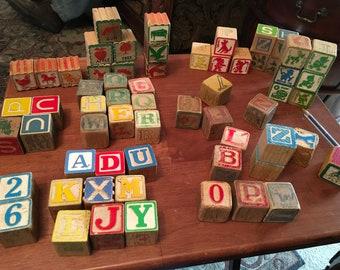 Vintage Children's Alphabet Blocks lot of 62