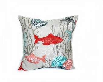 17 x 17 Ocean Theme, Indoor Outdoor Throw Pillow