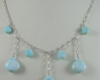 Blue Peruvian Opal Teardrop Necklace