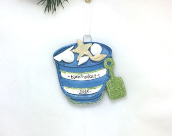 Beach Pail and Shovel Personalized Christmas Ornament / Beach Ornament / Seashore / Summer Vacation