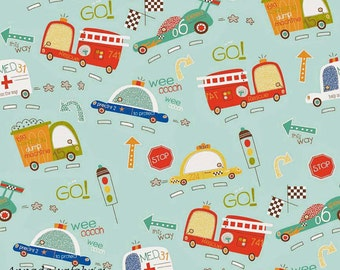 FLANNEL-Boy fabric-Toddler-Baby-Firetruck-Police Car-Ambulance-Taxi-Race Car-Vehicles-On Our Way-Children's-Light Teal