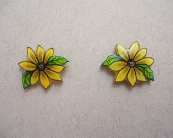 Hand Drawn Sunflower Shrink Plastic Stud Earrings