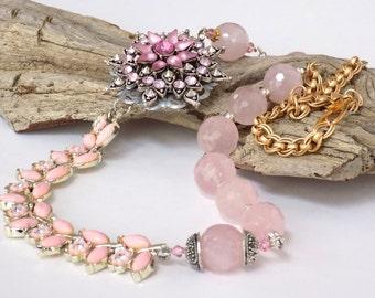 Rose Quartz Necklace Statement Necklaces for Women Chunky Necklace Gemstone Necklace Silver Rose Quartz Jewelry Pendant Necklace