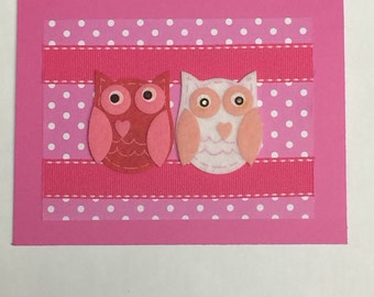 Valentine's Day Owls Card with Pink Ribbon