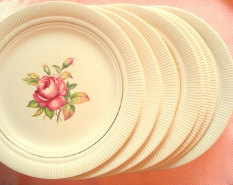 Vintage Wedding Dinner Plates Victory by Salem China Pink Rose Set of 7 Rose Plates Shabby Chic Vintage Bridal Shower