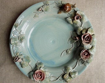 Light blue stoneware Dish -MADE TO ORDER -  The rosebush  and the snail - from a H.C. Andersen tale