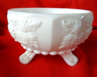 Paneled Grape Westmoreland Milk Glass Bowl 3 Footed Candy Dish