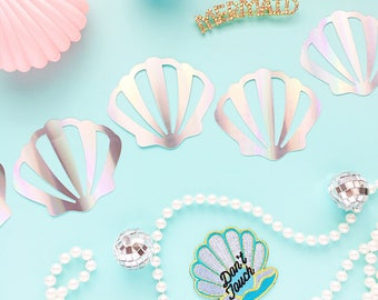 Seashell Garland/ Mermaid/ Holographic/ 21st Birthday/ Banner/ Hen Party/ Mermaid Decor/ Bride Tribe/ Gender Reveal/ Unicorn/ Flamingo