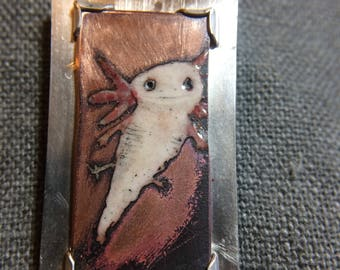 enamel axolotl pendant