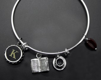Book Coffee Bracelet Adjustable Stackable Bangle Reader Java Bibliophile Literary Personalized Jewelry