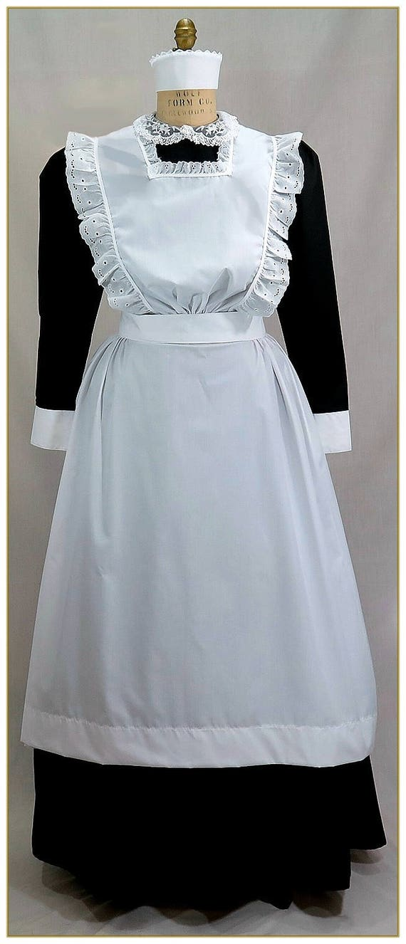 Victorian Edwardian Apron, Maid Costume & Patterns 1890-1905 Victorian Maids Bib Apron $79.00 AT vintagedancer.com