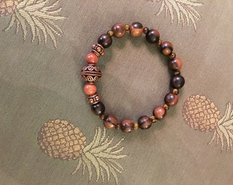 Men's Natural Bracelet made with Tiger Ebony Wood Beads, Tiger Eye Gem Stone, Goldstone Beads, Copper Beads.  WILL CUSTOM SIZE