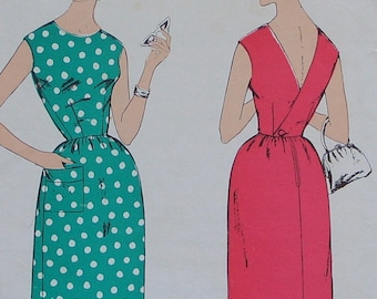 CROSSOVER Back Wrap 1950s 60s Basic Slim Day Dress Sewing Pattern 38 Bust LEROY 2352 VOLUP