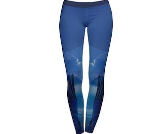 Wings Sky Clouds Blue full-print Leggings / Yoga Pants / Printed leggings / Colorful leggings / Modern design /  Workout pants /Activewear