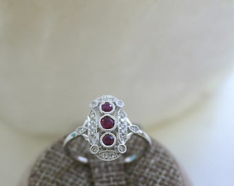 18K solid gold three round rubies and diamond art deco ring