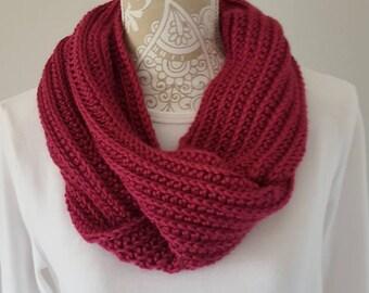 Dark Pink Infinity Scarf, crochet scarf, infinity scarf,  ladies scarf