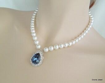 Pearl Necklace Something Blue Necklace Ivory pearl Swarovski Crystal necklace Rhinestone Bridal Necklace Bridal Wedding Necklace ANAIS