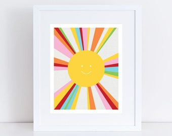 sun art print - colourful decor kids nursery art children baby girl boy gender neutral yellow multicoloured - rainbow bright, sunshine, fun
