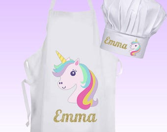 Personalised UNICORN Cooking Baking Apron and chef hat Kids Adults Christmas Birthday Gift