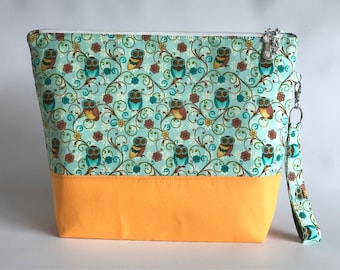 Ewe: Owls and Flowers - Medium Project Bag for Knitting/Crochet
