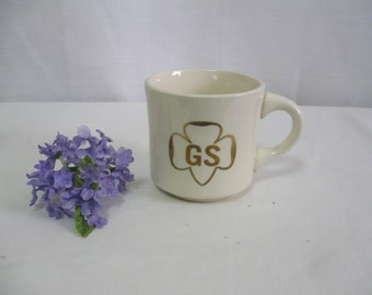 Vintage GIRL Scout Stoneware Mug Gold Lettering and Trim Made in USA See Details