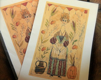 Gretchen the Pumpkin Peddler - LIMITED EDITION Folk Art Notecards - from Notforgotten Farm™