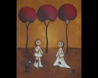 Whimsical Acrylic Creeper Art Painting - 9 x 12 -- Time of the Season - Black Cat - Hedgehog -  Owl