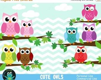 75% OFF SALE Owl Clipart, Commercial Use, Digital Clip Art, Owls Clipart, Digital Images - UZ633